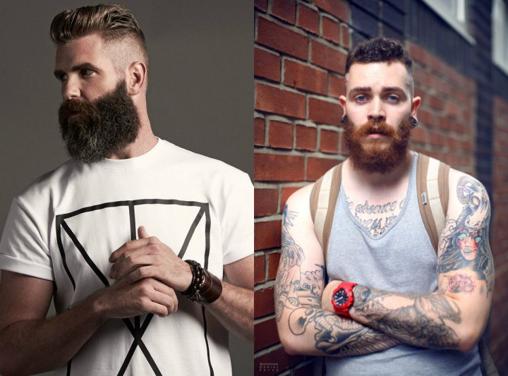 Curved Beard Style With Fade Hair