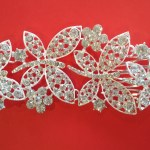 Alloy Rhinestone Bridal Decorative Hair Comb with Iron Combs, Silver, Crystal. 190 x 60 mm