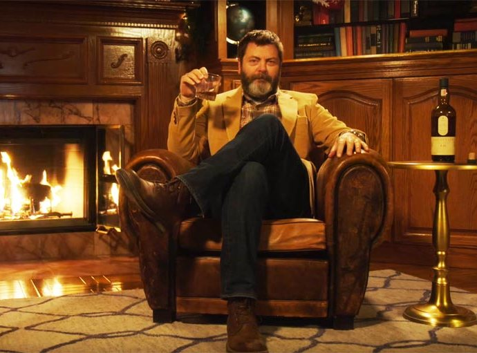 1 1 - Behold, 45 Minute Video Of Nick Offerman Enjoying Fine Whiskey by the Fire