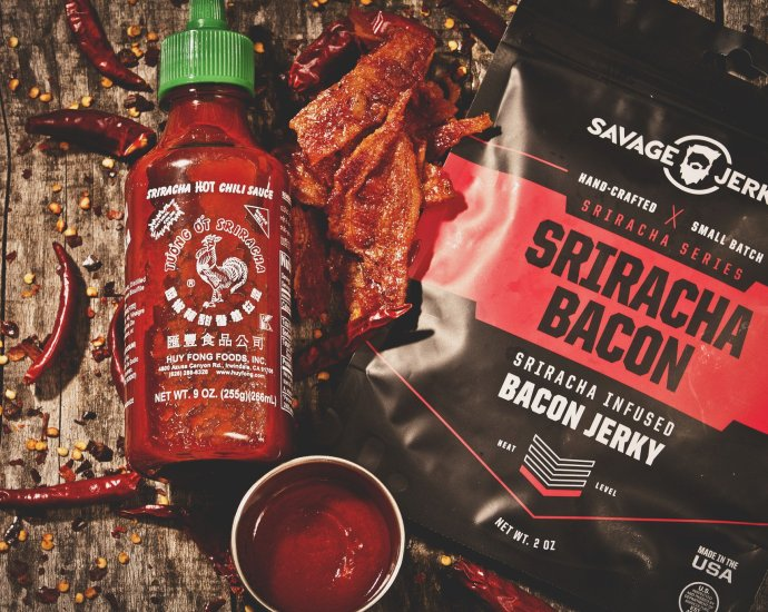 sri bacon overhead 1 - Sriracha Bacon Jerky from the Savage Jerky Company