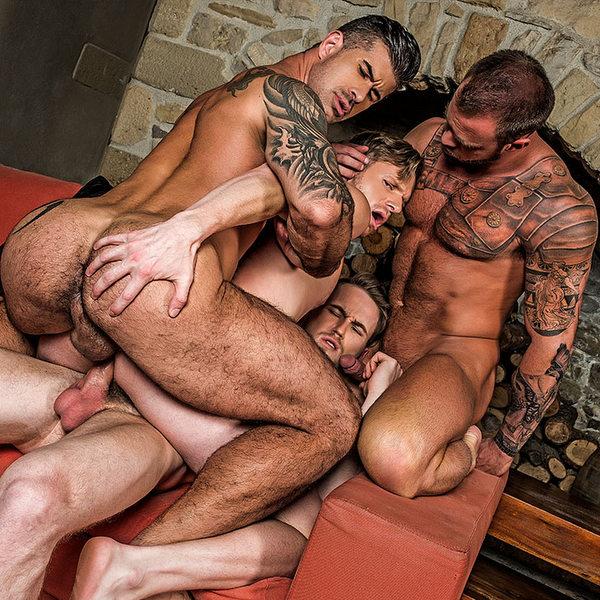 gay foursome with raw double penetration