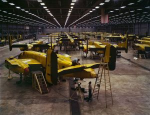 B-25 bombers at North American Aviation, Kansas City. Picture by Alfred Palmer