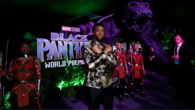 Cast member Chadwick Boseman poses at the premiere of Black Panther in Los Angeles