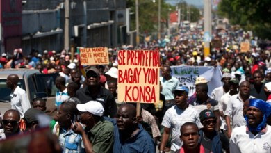 Demonstration in Port au Prince Haiti