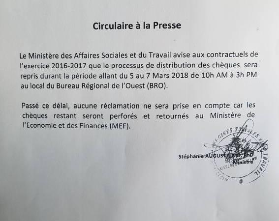 Haïti-Économie: Reprise de la distribution des chèques au MAST