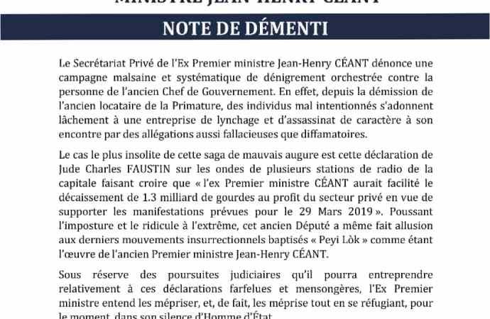 Haïti/ Politique Jean Henry Céant dénonce une campagne de dénigrement contre sa personne.