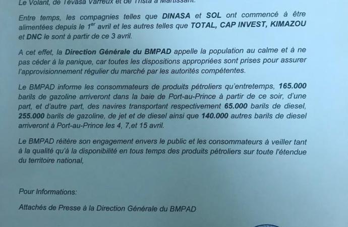 Rareté de carburant : BMPAD rassure, 165.000 barils de gazoline disponibles dès ce soir !