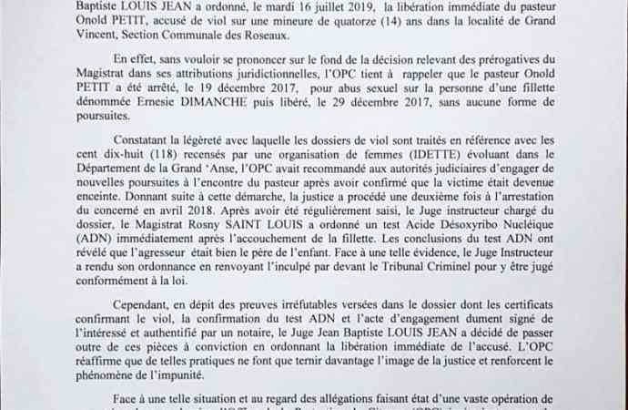 Le pasteur Onold Petit libéré, l'OPC crie au scandale