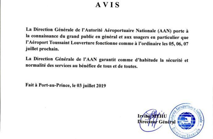 L'Aéroport International Toussaint Louverture ne chomera pas les 6, 7 juillet