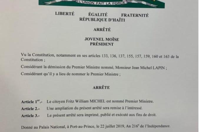 L'arrêté présidentiel confirmant Fritz William Michel publié