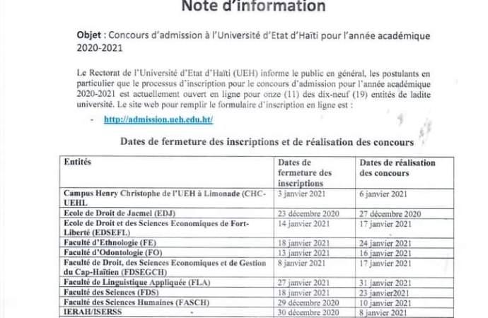 Éducation : 12 facultés de l'Université d'Etat d'Haïti lancent leurs inscriptions