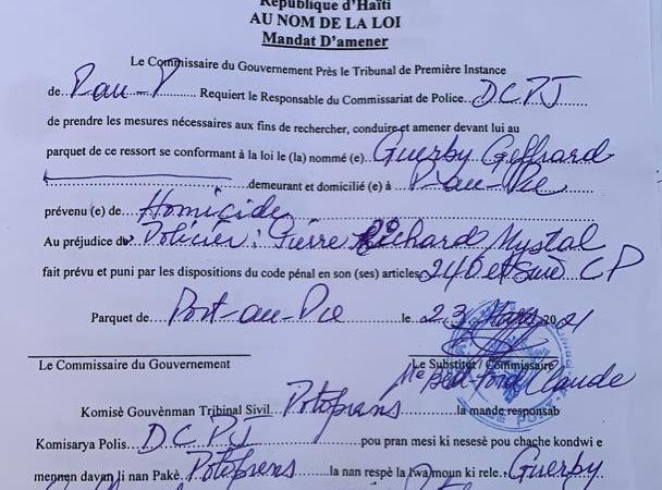 Assassinat du policier Pierre Richard Mystal : plusieurs mandats d'amener émis par le parquet