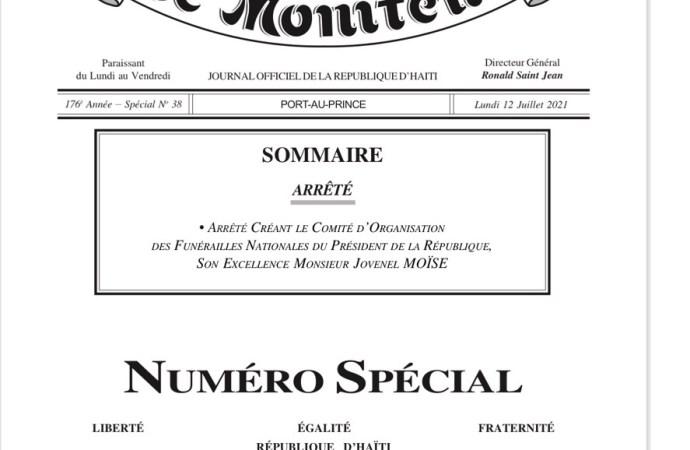 Formation d'un comité de sept membres chargé d'organiser les funérailles nationales de Jovenel Moïse