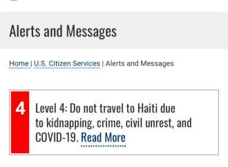 «Ne pas voyagez en Haïti», conseillent les Etats-Unis à leurs ressortissants