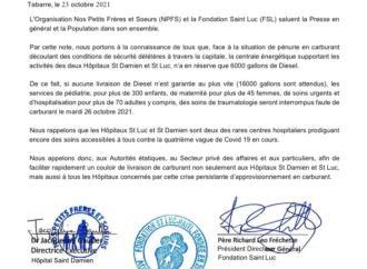 Pénuerie d'essence: les Hôpitaux Saint Luc et Saint Damien prédisent l'interruption de leurs services