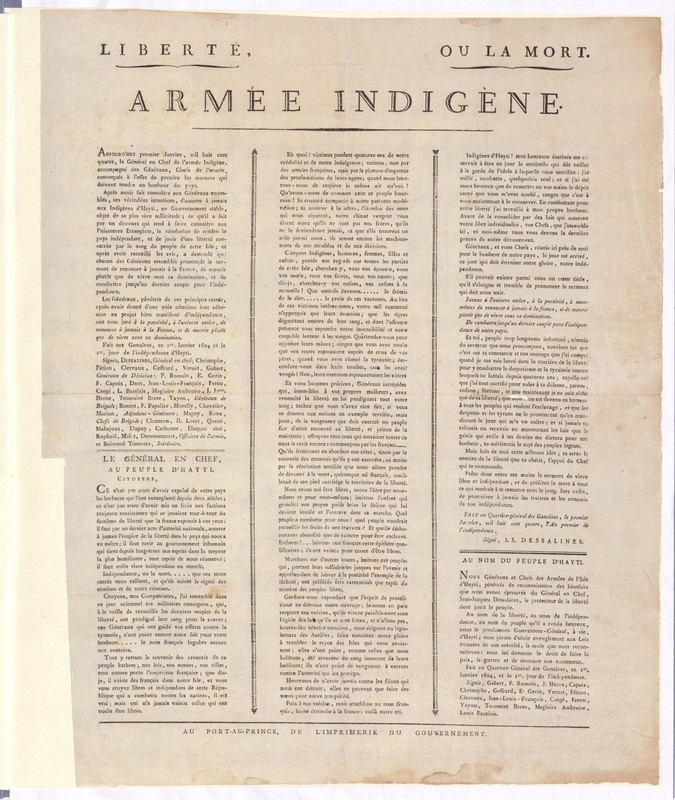 The Haitian Declaration of Independence, The National Archives of the United Kingdom, MFQ 1/184.