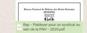 Le RNDDH plaide en faveur d'un syndicat au sein de la PNH 2