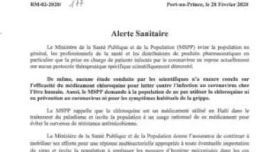 Photo de Haïti-Santé-Coronavirus: le MSPP met en garde contre l'utilisation de la Chloroquine
