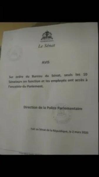 Interdiction des 10 sénateurs contestés par l'Exécutif d'entrer au Sénat 1