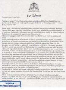 Le sénateur Patrice Dumont invite le président de la FHF à s'écarter provisoirement de la tête de l'institution