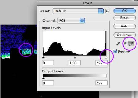 Use Levels to find the white or black points in your images