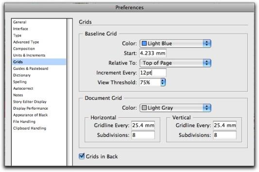 Baseline Grid Settings