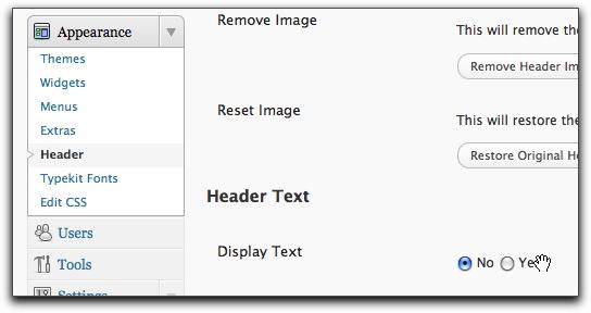 Display header text
