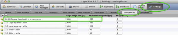 Web gallery templates