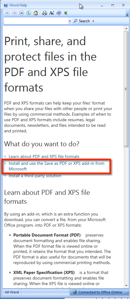 Install the PDF add-in to Microsoft Word