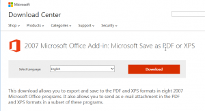 Download the PDF extension for Microsoft Word