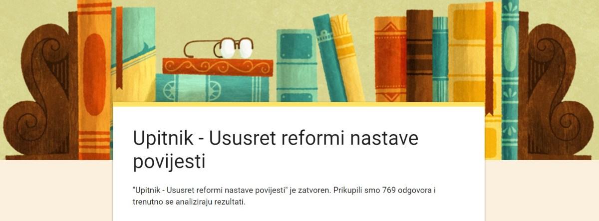 """Prikaz rezultata upitnika """"Ususret reformi nastave povijesti"""""""