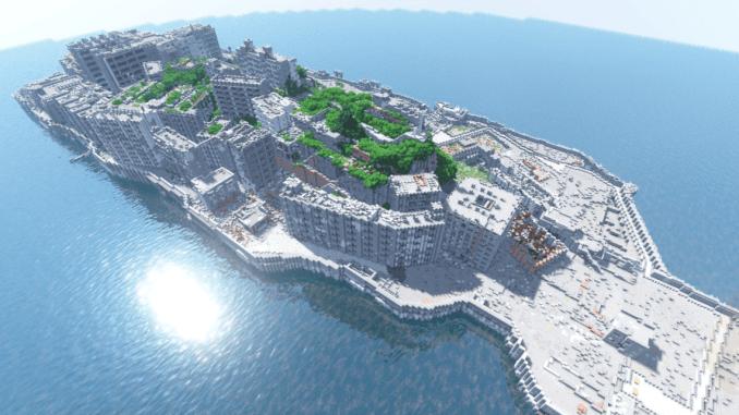マインクラフトで軍艦島を作ってみた