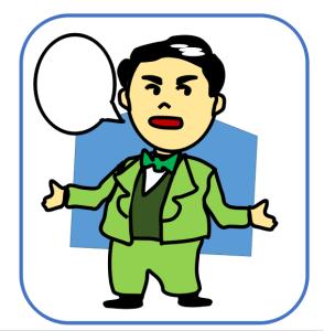 演説する人