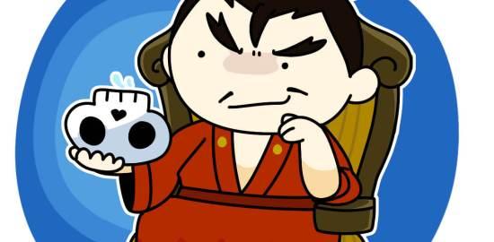 敵将の頭蓋骨を盃がわりにして酒を飲む織田信長