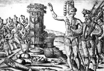De Bry's engraving with a Timucua Indian man.