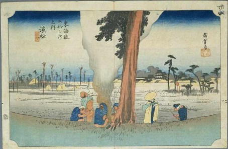 Hamamatsu Post Town #29, Old Tokaido, with Hamamatsu Castle in the distance, Hiroshige early 19C