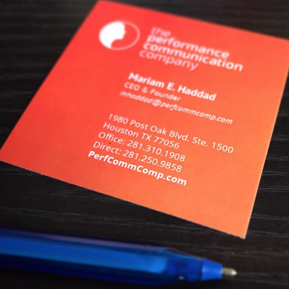 Business card design for Performance Communications Company