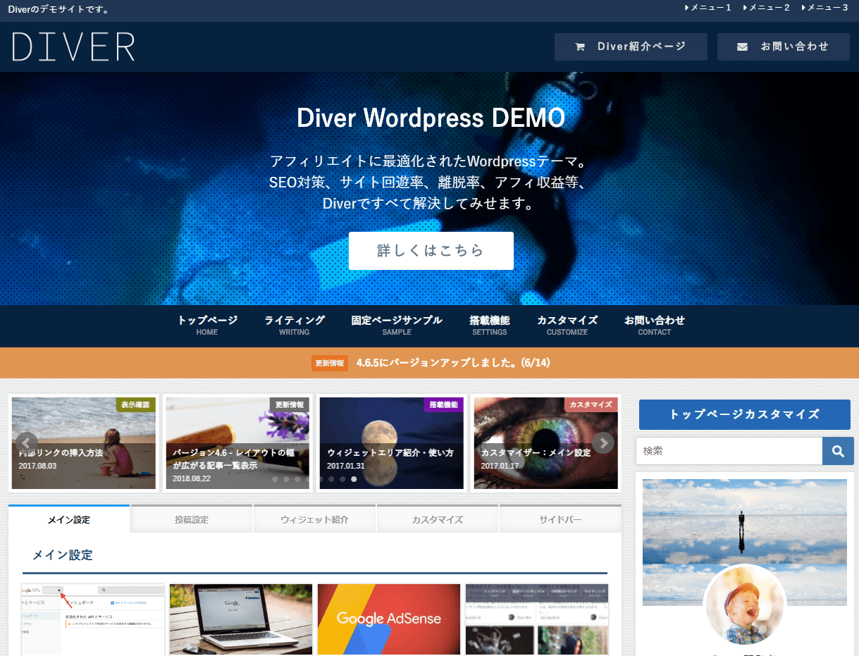 Diverの初期設定解説