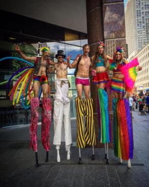 Pride Toronto Stiltwalkers 2016 Hala on stilts