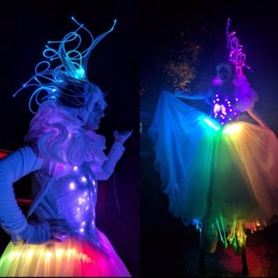 LED stilts costume Hala on Stilts stiltwalker toronto Crystal Queen fiber optics