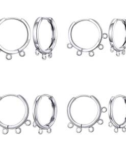 1 Pair 925 Sterling Silver DIY Jewelry Making Findings Handmade Connector Square/Round Circle Edge Loop Hoop Earrings Fittings Artificial Jewellery Earrings