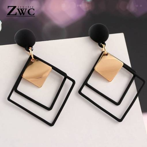ZWC Fashion New Women's Acrylic Drop Earrings Hot Selling Long Dangling Earrings Gift For Women Party Wedding Jewelry Brincos Artificial Jewellery Earrings