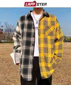 LAPPSTER Men Oversized Cotton Plaid Shirt 2019 Man Hip Hop Patchwork Button Up Long Sleeve Shirt Couple Korean Harajuku Clothing Men Men's Clothings Men's Polo Shirts