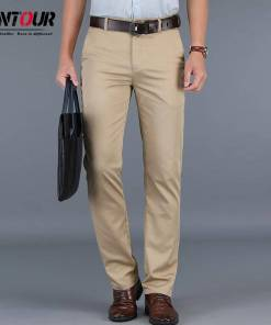 2019 Fashion New High Quality Cotton Men Pants Straight Spring Summer Long Male Classic Business Casual Trousers Full Length Mid Men Men's Clothings Men's Pants