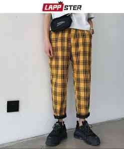 LAPPSTER Streetwear Yellow Plaid Pants Men Joggers 2019 Man Casual Straight Harem Pants Men Korean Hip Hop Track Pants Plus Size Men Men's Clothings Men's Pants