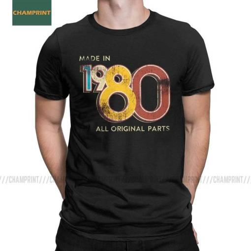 Men's Made In 1980 40th Birthday 40 Years Old School Retro 1980 T Shirt Anniversary Cotton Tops Short Sleeve Tee Unique T-Shirts Men Men's Clothings Men's Tee