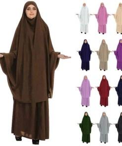 Women Muslim Burqa Niqab Overhead Hijab Skirt Khimar Prayer Abaya 2 Piece Dress Sets Islamic Jilbab Kaftan Robe Gown Middle East Women Women's Abaya Women's Clothings