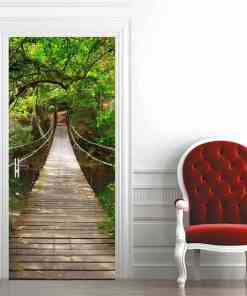 3D Door Sticker Mural Wall Paper For Bedroom Wood Suspension Bridge Large Murals Door Stickers Home Decor Poster Photo Wallpaper Herbal Products