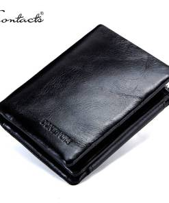 CONTACT'S Genuine Cowhide Leather Men Wallet Trifold Wallets Fashion Design Brand Purse ID Card Holder With Zipper Coin Pocket Men Men's Bags Men's Wallets