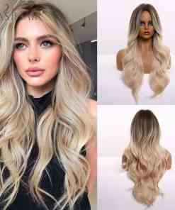 Long Light Blonde Ombre Natural Wave Style Wigs Wigs